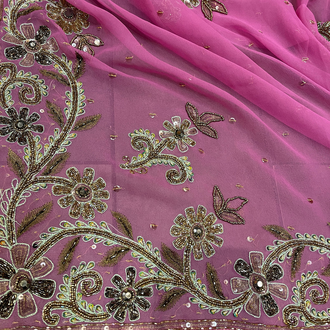 Vintage Purple Pink Silk Dupatta Scarf 8705 - Vintage India NYC