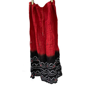 Bandhani Skirt-Red & Black - Vintage India NYC