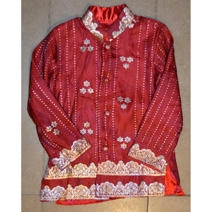 Red and silver silk children's jacket - Vintage India NYC