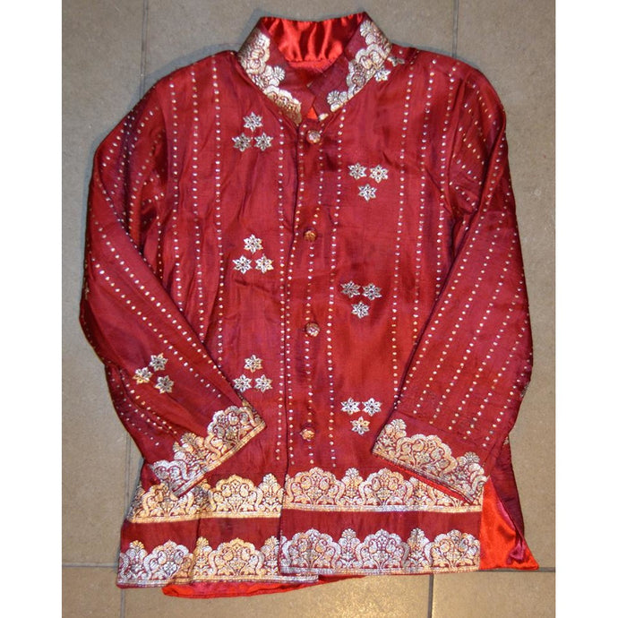 Red and silver silk children's jacket