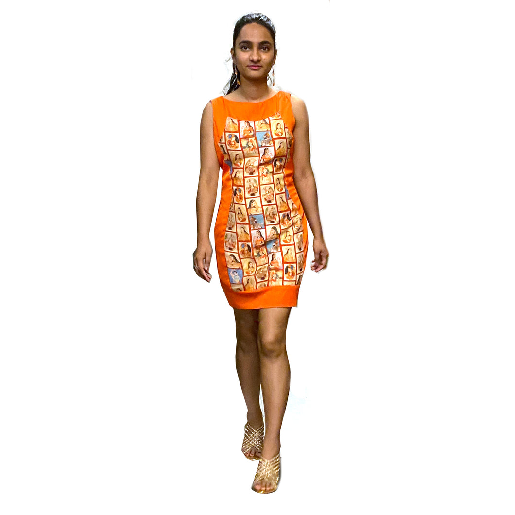 Silk Dress with Digital Print - Vintage India NYC