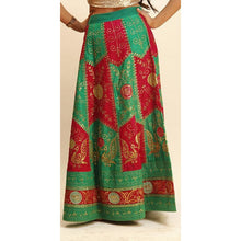 Red and green skirt with gold embroidery