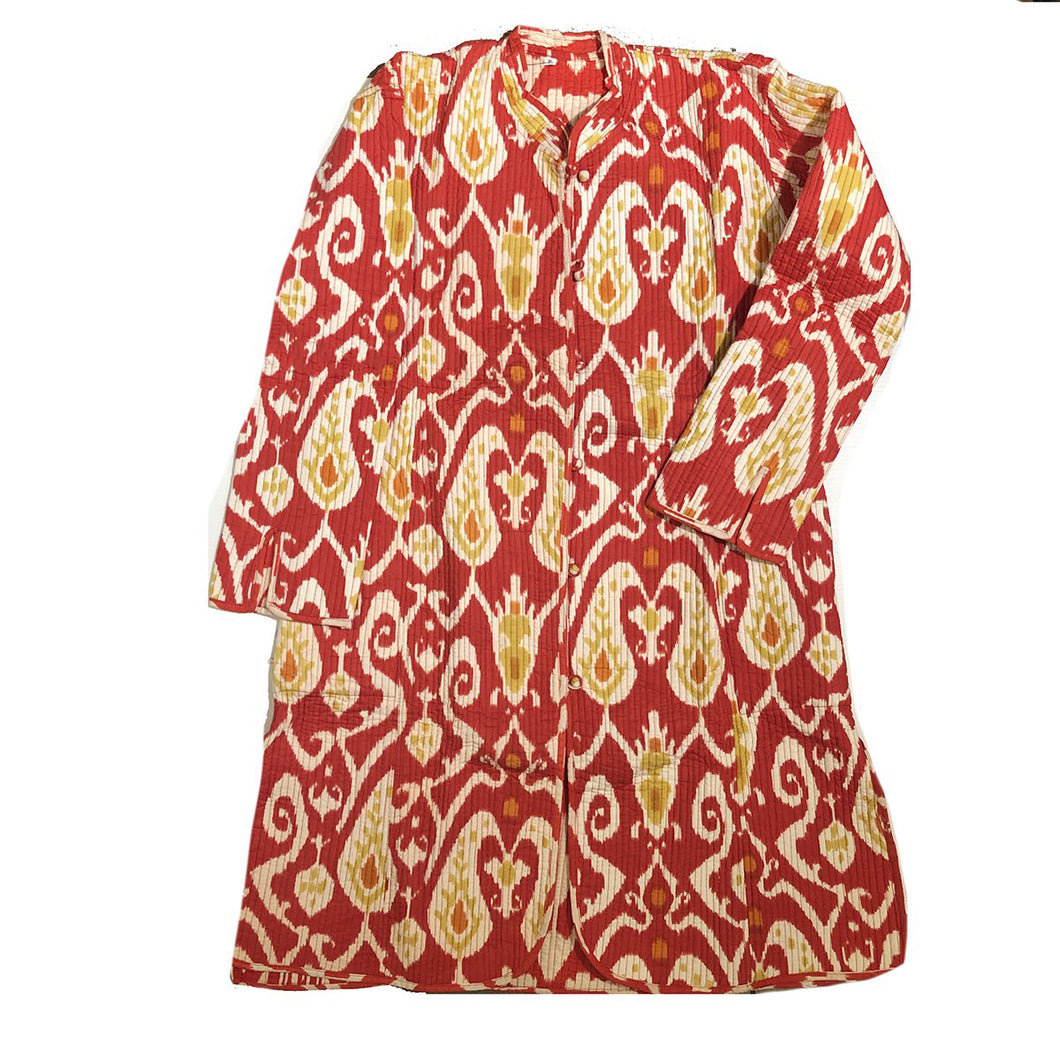VR Red Ikat Quilted Coat - Vintage India NYC