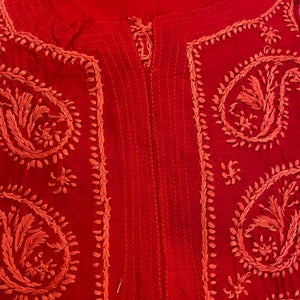AR Long Embroidered Cotton Tunic Kurtis - S - Vintage India NYC