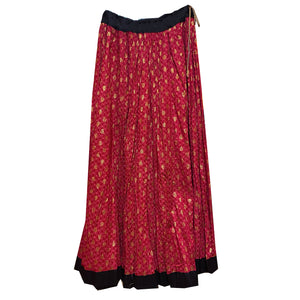 Cotton Full Gher Red Pink Skirt - Vintage India NYC