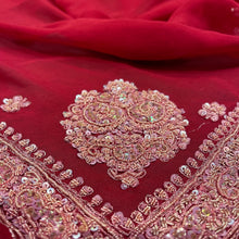 Vintage Red Silk Dupatta Scarf 8704 - Vintage India NYC