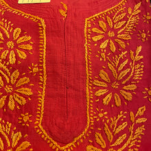 AR Long Embroidered Cotton Tunic Kurtis- L - Vintage India NYC