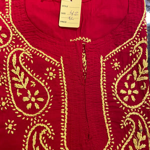 AR Short Embroidered Cotton Tunic Kurti-XL - Vintage India NYC