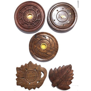 OS Handmade Round Wooden Incense Holder - Vintage India NYC