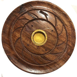 OS Handmade Round Wooden Incense Holder