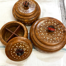 4 Partition Round wood Box-3 Sizes - Vintage India NYC