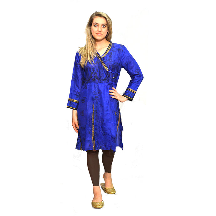 Royal blue silk angrakha