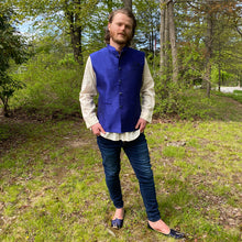YD Royal Blue Nehru Vest - Vintage India NYC