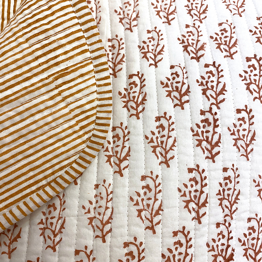 SC Blockprint Baby Blankets-Rust - Vintage India NYC