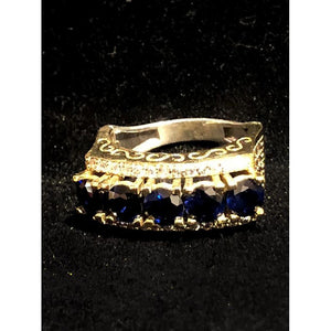 Gold plated silver ring with sapphire zirconium stones