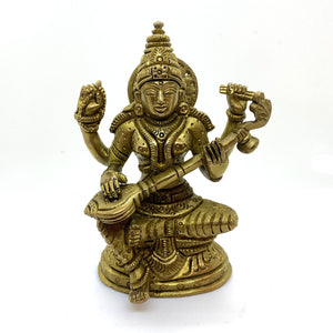 GM Brass Saraswati 5 inches - Vintage India NYC