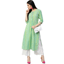 JK Teal & Lime Kurta with geometric pattern - Vintage India NYC