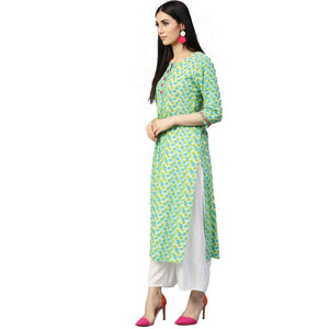 JK Teal & Lime Kurta with geometric pattern
