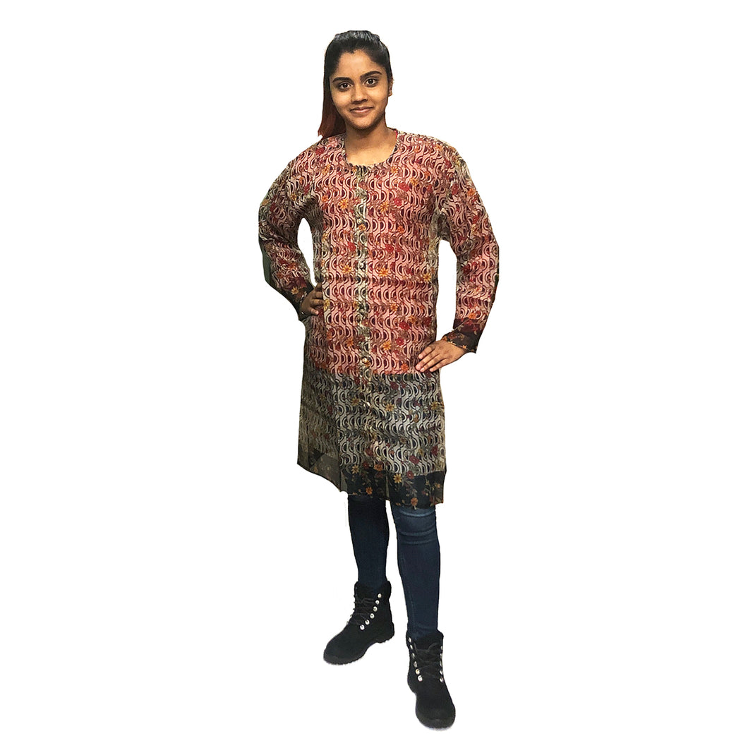 Chanderi Front Button Kurta