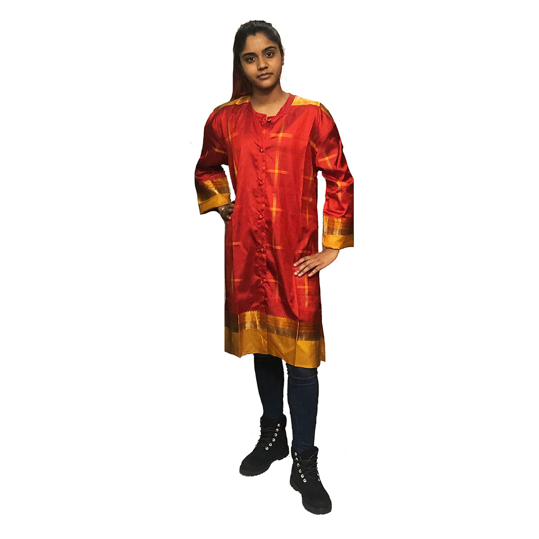Red Silk Front Button Kurta