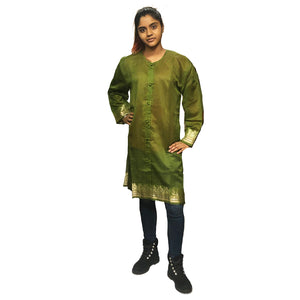 Olive Chanderi Front Button Kurta
