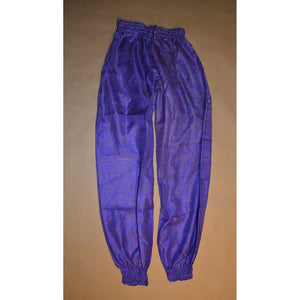 Purple floral print silk harem pants