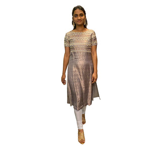 Vintage Copper Silver Brocade Dress - Vintage India NYC