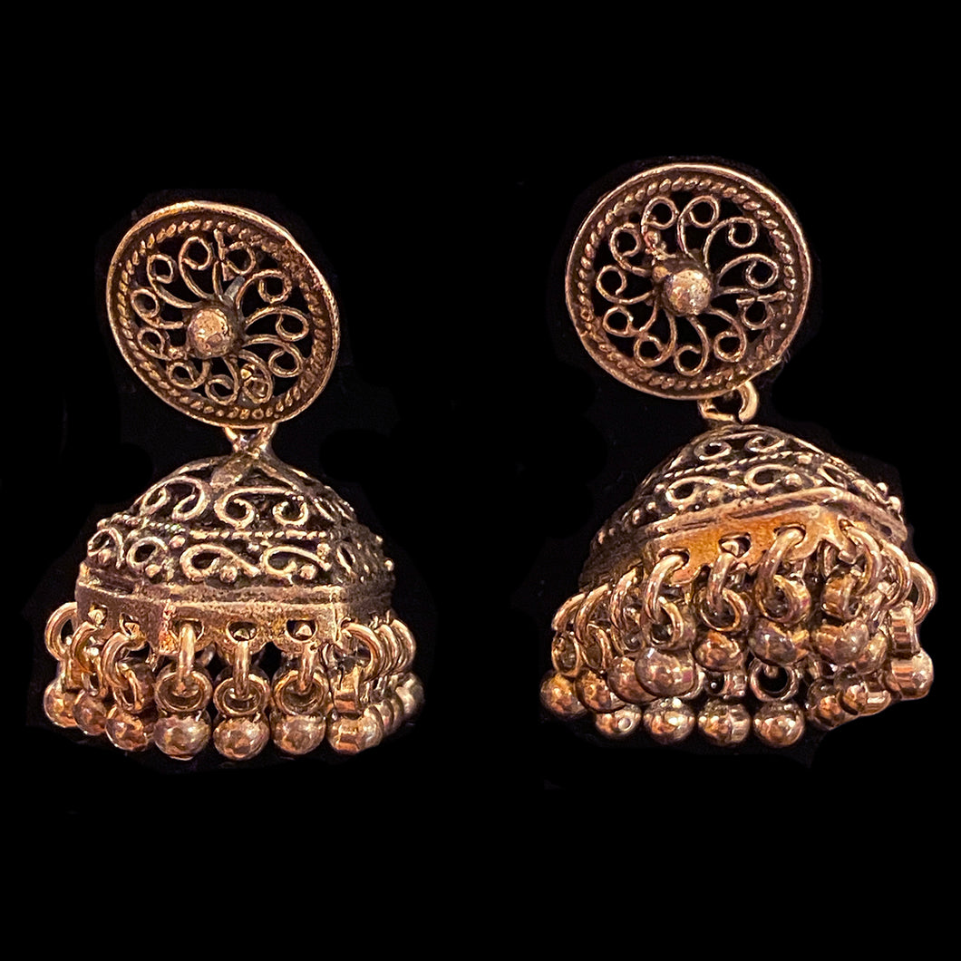 Silver Indian Jhumka Earrings - Vintage India NYC