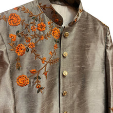 YD Silver Embroidered Sherwani - Vintage India NYC
