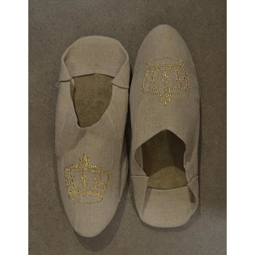 Linen Crown Slipper