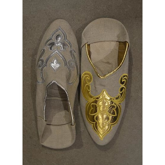 Linen slipper with gold or silver motif - Vintage India NYC