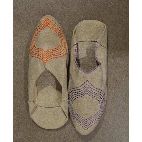 Embroidered linen slippers