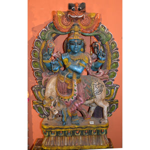 Hand carved & painted  Krishna statue - Vintage India NYC