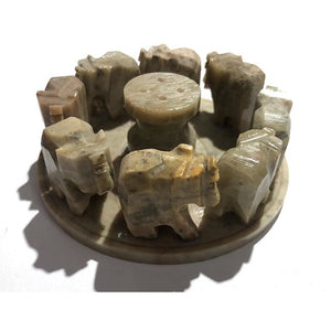 OS Soapstone elephants Incense burner