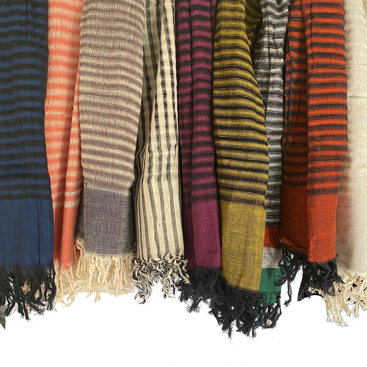 Handwoven Striped Cotton Scarves - Vintage India NYC