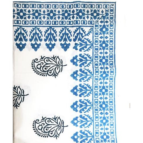 Small hand block print tablecloth