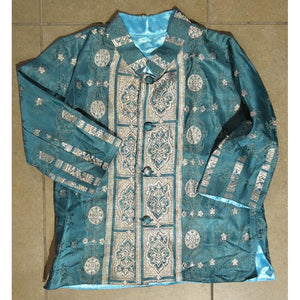 Peacock blue and silver children's jacket - Vintage India NYC