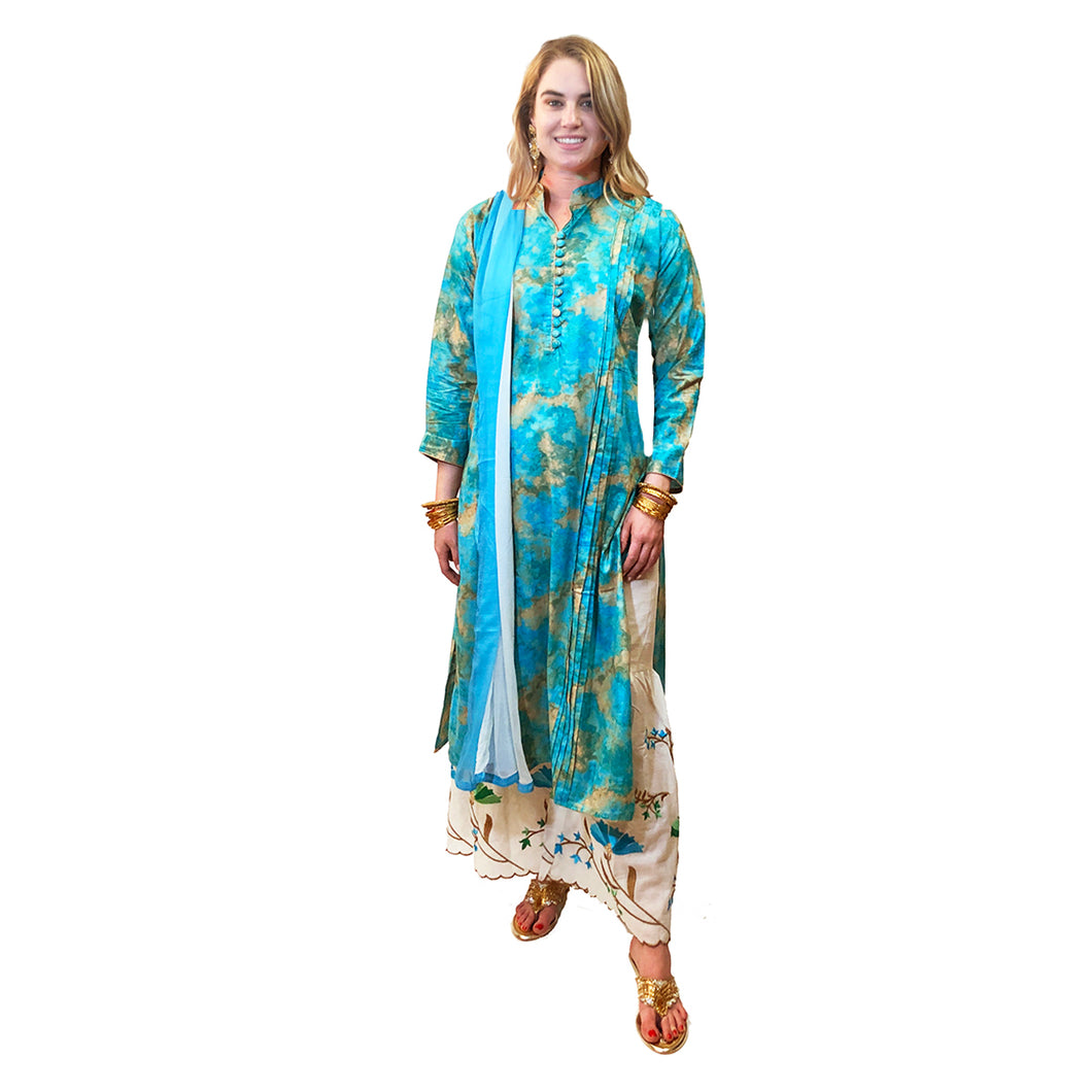 SH Tie Dye Kurta Sharara-4 colors - Vintage India NYC