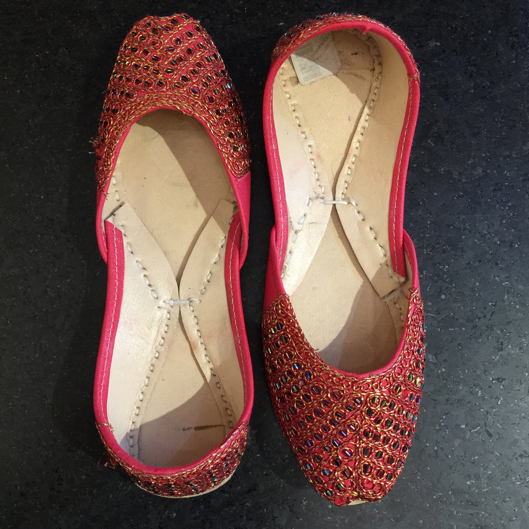 Tomato Red and Gold Flat Jutti - Vintage India NYC