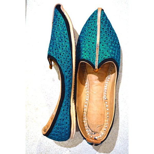 Turquoise handmade leather shoes