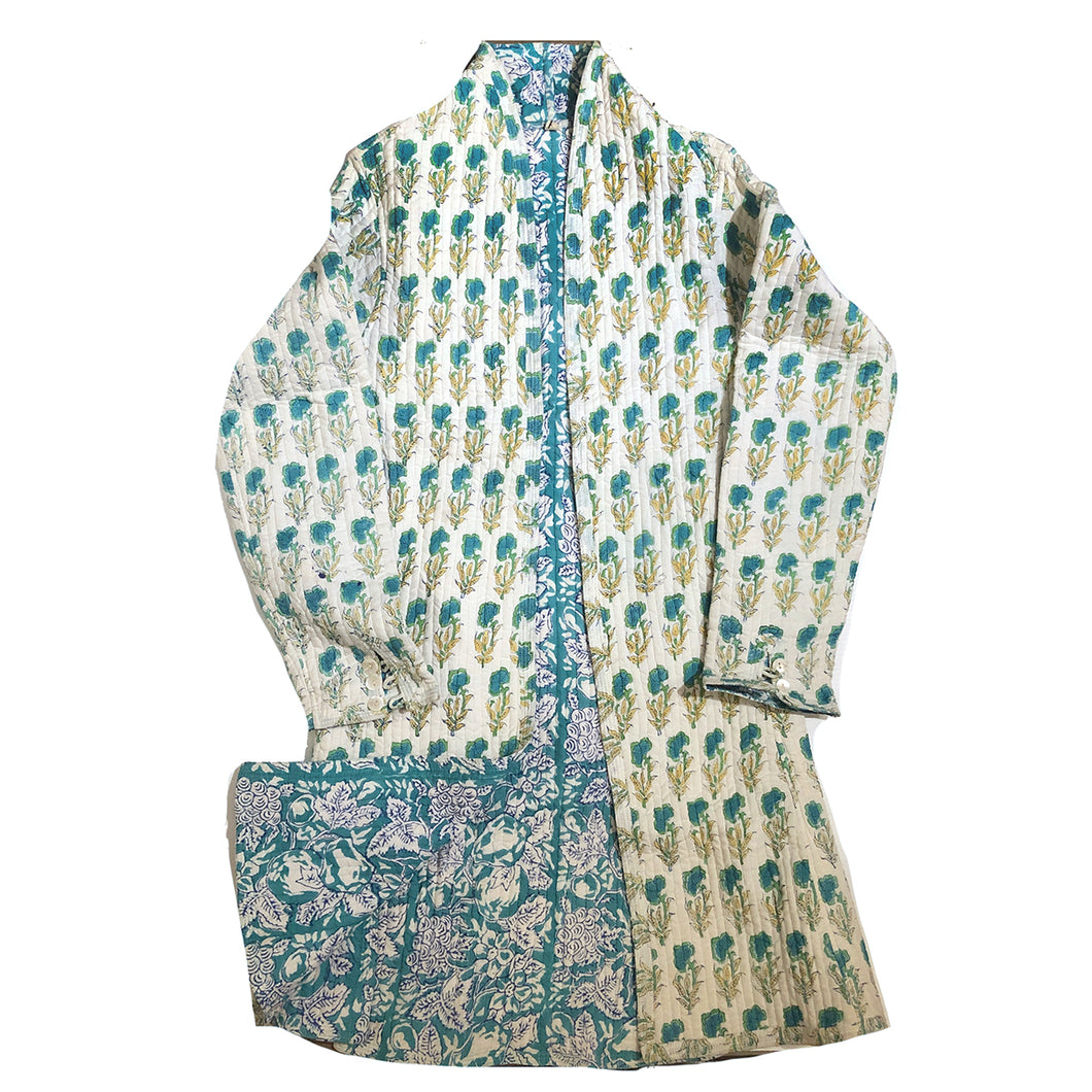 VR Quilted BlockPrint Shawl Collar Coats