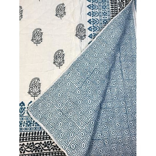 Twin blockprint quilt