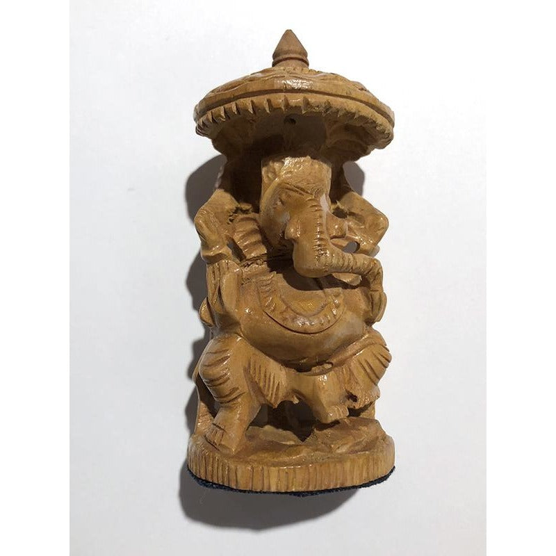 VD Handcarved Wooden Ganesha 4 in. - Vintage India NYC