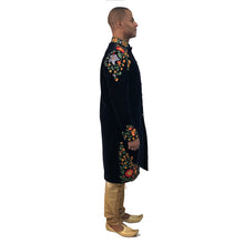 DK Navy Velvet Embroidered Sherwani - Vintage India NYC