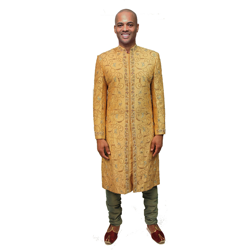 VM Gold Sherwani with Gold Embroidery