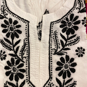 AR Long Embroidered Cotton Tunic Kurtis- XS - Vintage India NYC