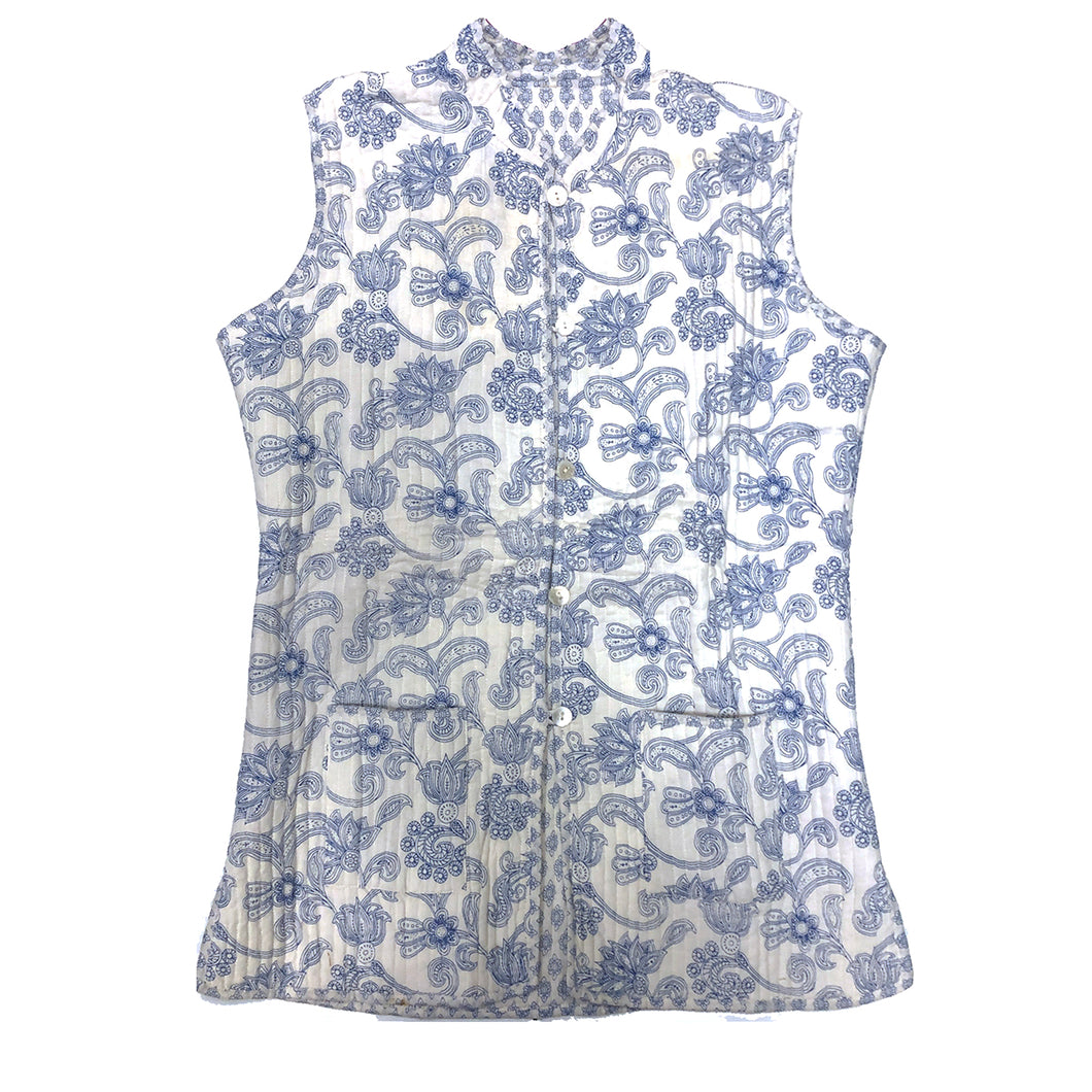 VR White & Blue Quilted Vest - Vintage India NYC
