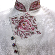 White Sherwani with Pink Embroidery - Vintage India NYC