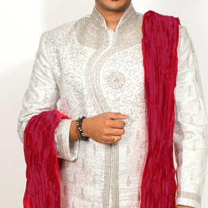 VM White Brocade Sherwani - Vintage India NYC