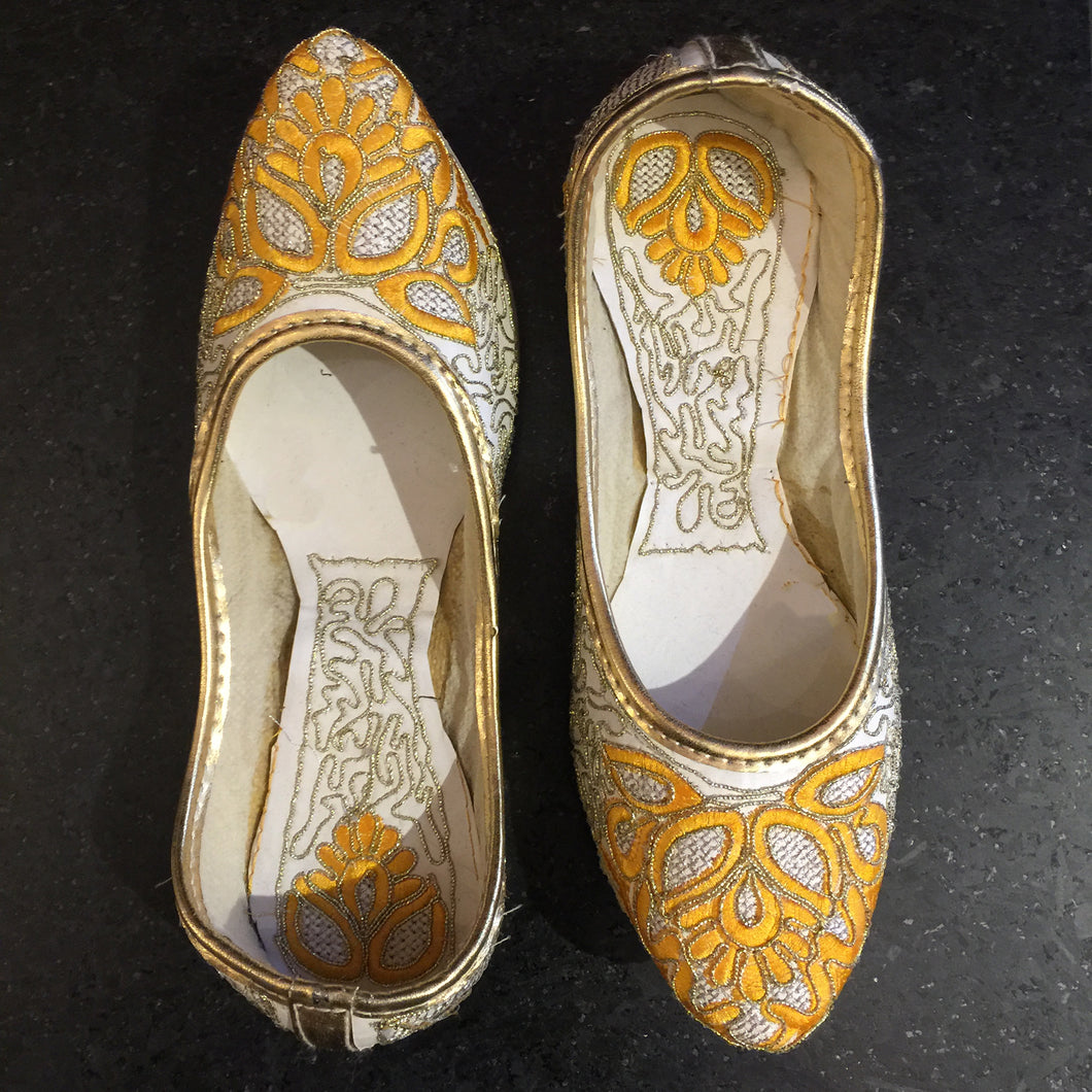 White & Yellow Jutti - Vintage India NYC